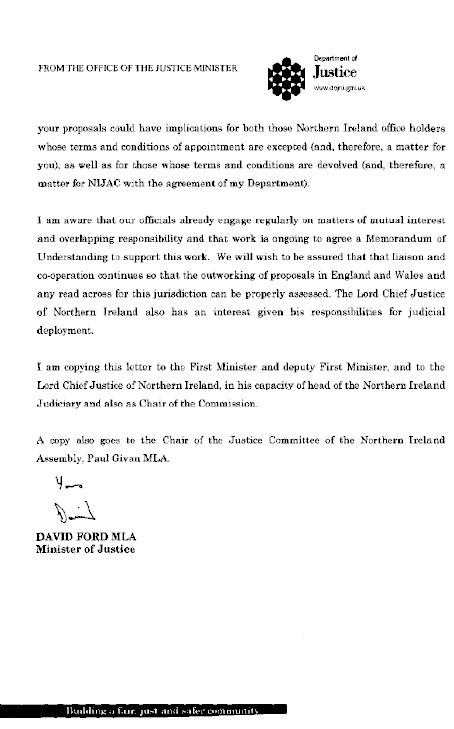 Department of Justice Response to Ministry of Justice Consultation