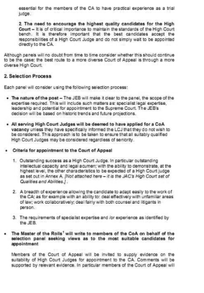 Practice Note Process for Appointments to the Court of Appeal in England and Wales