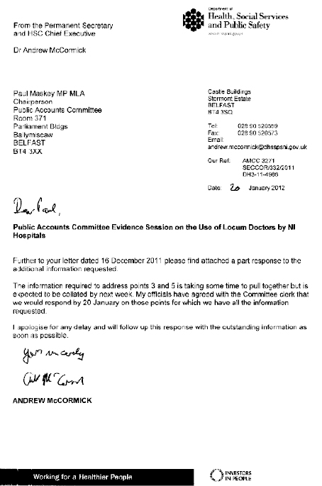 Correspondence of 20 January 2011  from Dr Andrew McCormick