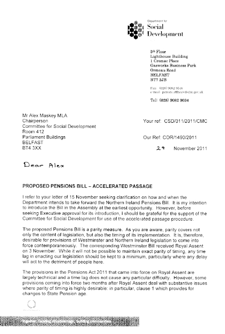 Letter from Minister re Pensions Accelerated Passage