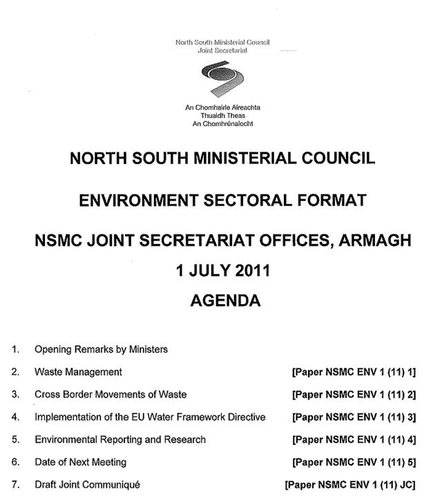Agenda for the meeting