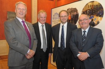 Pictured at a lecture entitled 'Perspectives on the Ulster Covenant' which took place at Parliament Buildings on Monday 24 September are: (l-r) Assembly Commission Member, Leslie Cree MLA; historian, Dr Jonathan Bardon; Assembly Commission Member, Peter Weir MLA; and the Speaker of the Northern Ireland Assembly, Mr William Hay MLA.