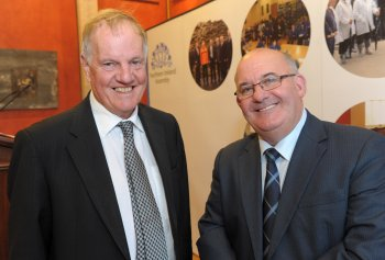 Speaker of the Northern Ireland Assembly, Mr William Hay MLA is pictured with historian Dr Jonathan Bardon at the lecture entitled 'Perspectives on the Ulster Covenant' which took place at Parliament Buildings on Monday 24 September.