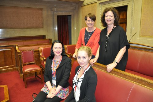 Caitríona Ruane MLA and Dr Margaret Ward (back, L-R), engage with attendees of the Assembly Commissions Perspectives on Female Suffrage lecture (Emma Patterson, NI Women's European Platform and Juliana van Hoeven, Community for the Administration of Justice, Front, L-R)