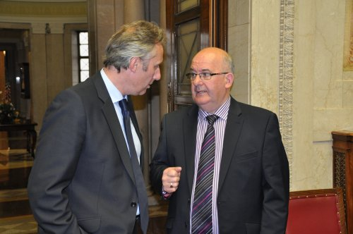 Guests at the Assembly Commission's Perspectives on Female Suffrage lecture included elected representatives and various women's organisations.  Pictured: Ian Paisley Jr MP and Speaker of the Northern Ireland Assembly Mr William Hay MLA