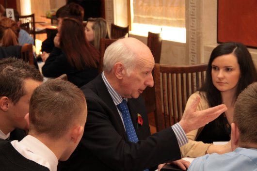 Robin Newton MLA talks politics with sixth form students from East and West Belfast Schools.