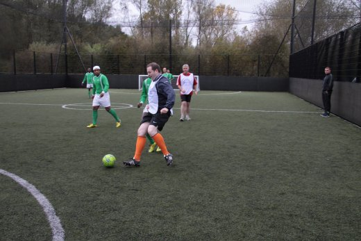 Chris Hazzard MLA prepares to score a goal at the recent MLA football match against 'World United' organised to promote the IFA's Football Against Racism Europe campaign.