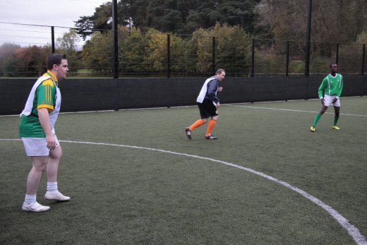 Phil Flanagan MLA mans the goals in the recent MLA football match against 'World United' organised to promote the IFAs Football Against Racism Europe campaign.