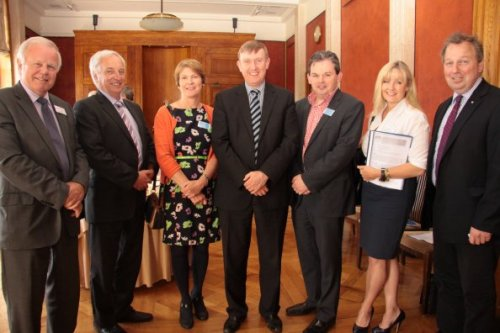Education Committee Members with guests at the Committee's Area Planning event.  From L-R: Trevor Lunn MLA; Sean Rogers MLA; Catherine Ward, Fermanagh Trust; Mervyn Storey MLA (Chairperson); Lauri McCusker, Fermanagh Trust; Brenda Hale MLA ; Danny Kinahan MLA (Deputy Chairperson)