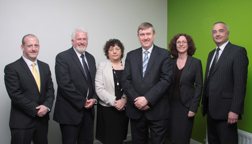 From L-R: John Daly, Business Manager Financial Services, CCEA; Trevor Carson, Chairman of CCEA; Anne-Marie Duffy, Director of Qualifications, CCEA; Mervyn Storey, Chairperson of the Committee; Ruth Kennedy, Business Manager Curriculum, Assessment and Reporting, CCEA; Richard Hanna, Interim Chief Executive,  CCEA.