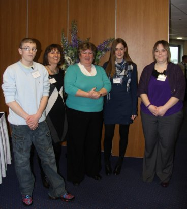 Pictured at the event are (l-r) Geordie Bingham (Dr B's Kitchen), Clare McCaughey (Dr B's Kitchen), Sue Ramsey (Chair of the Employment and Learning Committee), Jessica Smyth (Prince's Trust) and Nichola Laffin (Dr B's Kitchen).