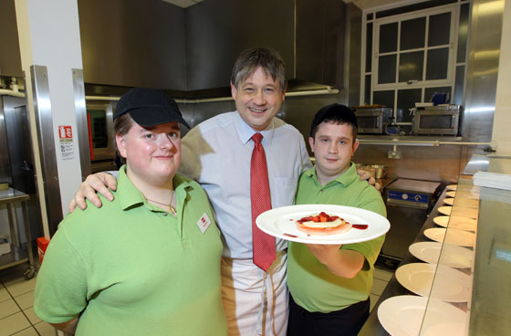 The Committee for Employment and Learning hosted its own 'Masterchef' style event with trainees from the Belfast based NOW organisation. Trainees prepared a four course meal, dressed the tables and ushered guests to the event at Parliament Buildings. Committee Chair Basil McCrea is pictured with trainees Daniel Benson and Brendan Donnelly.