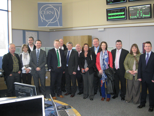 The Committee for Employment and Learning Delegation at the Large Hydron Collider Control Room, the CERN Institute, Switzerland.