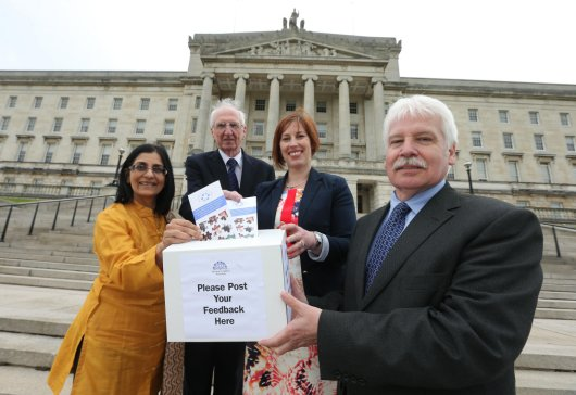 Sammy Douglas MLA Chair of Assembly Community Connect (ACC) and Sandra Overend MLA and ACC Board Member are joined by Michael Monaghan Chair of the NI Pensioners Parliament and Nisha Tandon from ArtsEkta at the launch of Assembly Community Connect. This new Assembly initiative will provide training and support to the local voluntary and Community sector.