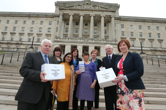 Sammy Douglas MLA Chair of Assembly Community Connect (ACC) and Sandra Overend MLA and ACC Board Member are joined by Michael Monaghan Chair of the NI Pensioners Parliament and Nisha Tandon from ArtsEkta at the launch of Assembly Community Connect.