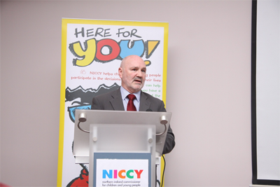Chairperson of the Committee, Alex Maskey MLA, at the launch of the NICCY reports on Welfare Reform.
