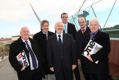 Ilex Regeneration - Members of the Committee on the Peace Bridge during a visit to Derry/Londonderry