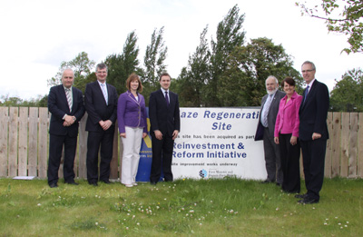 Committee Members and Maze/Long Kesh Programme Director Kyle Alexander at the Maze/Long Kesh site in June 2011.