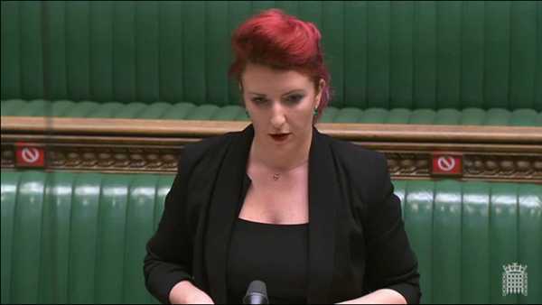 Shadow Secretary of State for Northern Ireland Louise Haigh addressing Brandon Lewis in the Commons | Source: UK Parliament