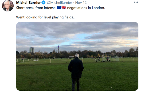 Michel Barnier Tweet - Short break from intense negotiations in London... Went looking for level playing fields... (a picture of Mr Barnier at playing fields is attached with tweet)