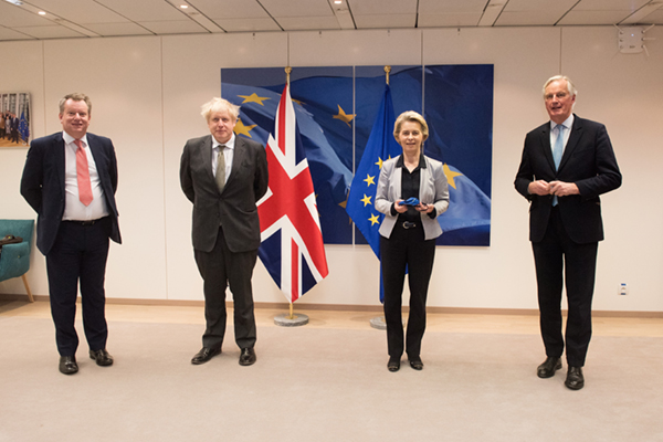 David Frost with Boris Johnson, Ursula von der Leyen and Michel Barnier during the final stages of negotiating the trade deal.