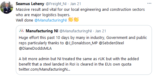 Seamus Leheny on Twitter - Massive result and vital for our local engineering and construction sectors who are major logistics buyers. Well done @ManufacturingNI