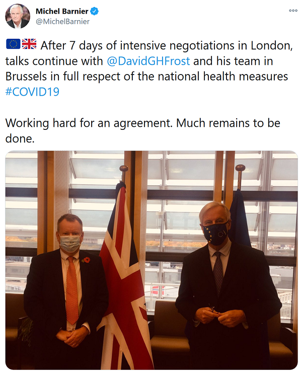 Michel Barnier on Twitter - After 7 days of intensive negotiations in London, talks continue with @DavidGHFrost and his team in Brussels in full respect of the national health measures #COVID19