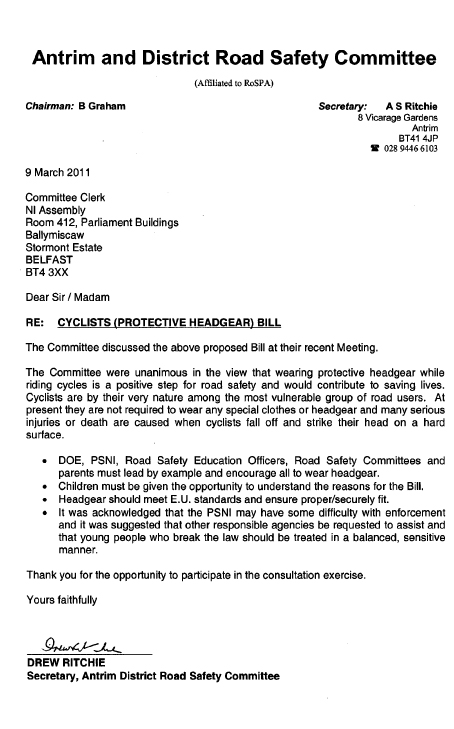 Report on the Cyclists (Protective Headgear) Bill (NIA 9/10)