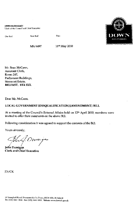Report on Local Government (Disqualification) (Amendment