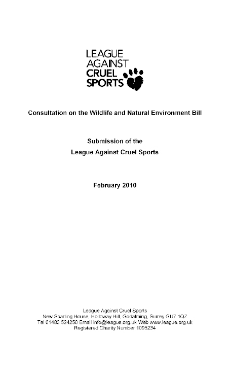 47eed499963998 Report on the Wildlife and Natural Environment Bill (NIA 5 09)