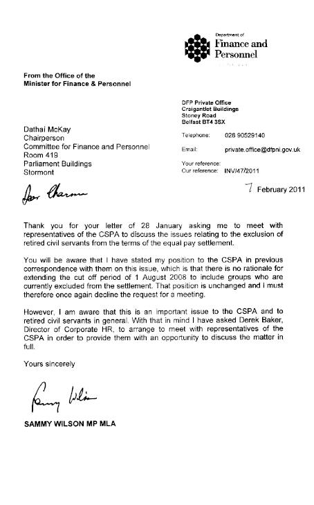 Correspondence relating to northern ireland civil service equal pay correspondence relating to northern ireland civil service equal pay settlement spiritdancerdesigns Gallery