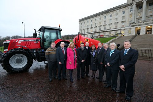 Members of the Agriculture and Rural Development Committee at an event at Parliament Buildings to highlight the importance of putting safety first on farms, held on 14 January 2014.