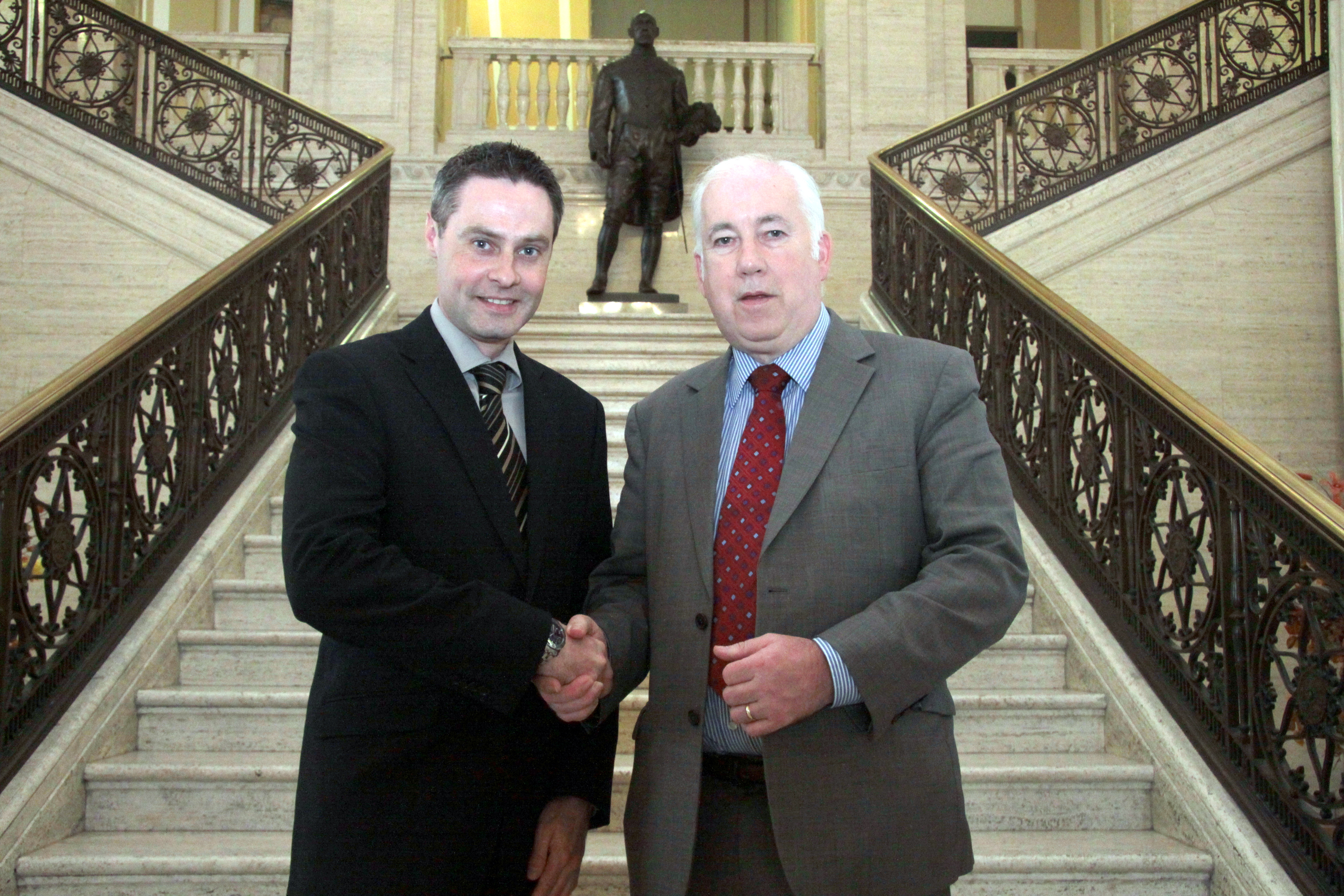 Paul Frew MLA (Chair of the Assembly Agriculture and Rural Development Committee) welcomes new Deputy Chairperson, Joe Byrne MLA to the Committee. Mr Byrne replaced Mrs Dolores Kelly as Committee Deputy Chairperson on 19 May 2012.
