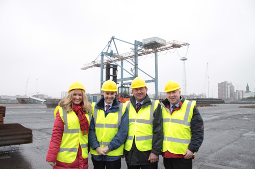 The Committee for Agriculture and Rural Development at Belfast Harbour. From L-R: Jo-Anne Dobson MLA; Paul Frew MLA (Chairperson); William Irwin MLA; Joe Byrne (Deputy Chairperson).