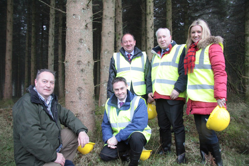 The Committee for Agriculture and Rural Development at Woodburn Forest.  From L-R: John Wilson, Forestry Service; Paul Frew MLA (Chairperson); William Irwin MLA; Joe Byrne MLA (Deputy Chairperson); Jo-Anne Dobson MLA.