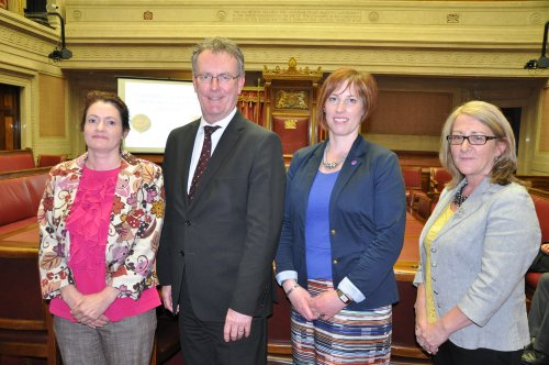 "Organisations and MLAs attended the Assembly Commission's ""Perspectives on Female Suffrage"" lecture.  From L-R: Helen Craickard, WOMEN'STEC; Mike Nesbitt MLA; Sandra Overend MLA; Anne McVicker WOMEN'S TEC"