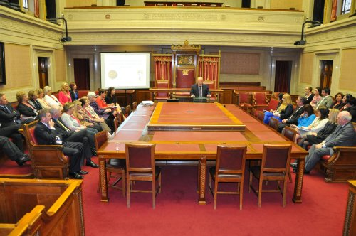The Speaker of the Assembly, Mr William Hay MLA, welcomed guests to the Assembly Commission's Perspectives on Female Suffrage lecutre in the Senate Chamber, Parliament Buildings