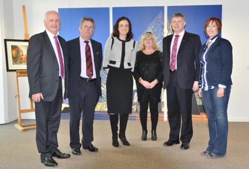 Gordon Dunne, Alban Maginness, Maeve McLaughlin, Patsy McGlone (Chair) and Sandra Overend meet Secretary of State, Theresa Villiers (centre) during the ETI Committee visit to Brussels