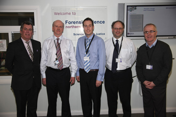 Members the Assembly Committee for Justice on a visit to Forensic Science Northern Ireland.