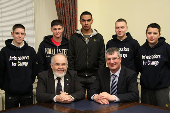 Young people from the 'Ambassadors for Change' programme, which facilitates cross-community discussion and co-operation, meet with the Committee for the Office of the First Minister/deputy First Minister