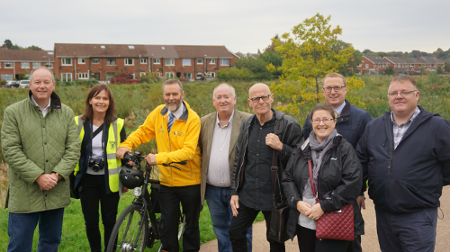 Pictured from left to right : Mr William Humphrey MLA (Chairperson), Mrs Wendy Langham (Connswater Community Greenway), Mr Andrew Grieve (Department for Infrastructure), Mr Fra McCann MLA, Mr Eamonn McCann MLA, Mrs Kellie Armstrong MLA, Mr Owen McGivern (Rivers Agency) and Mr Declan McAleer MLA.