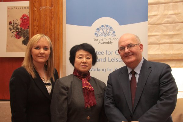 From L-R: Chairperson of the Committee for Culture, Arts and Leisure, Ms Michelle McIlveen MLA; Acting Consul General for People's Republic of China, Madam Ma Dayun; Speaker of the Northern Ireland Assembly, Mr William Hay MLA.
