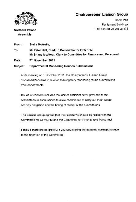Chairpersons' Liaison Group response