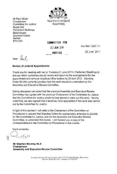 Correspondence from Chairman of AERC to Chairman of Committee for Justice