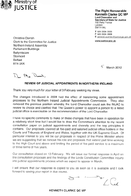 Lord Chancellor and Secretary of State for Justice submission
