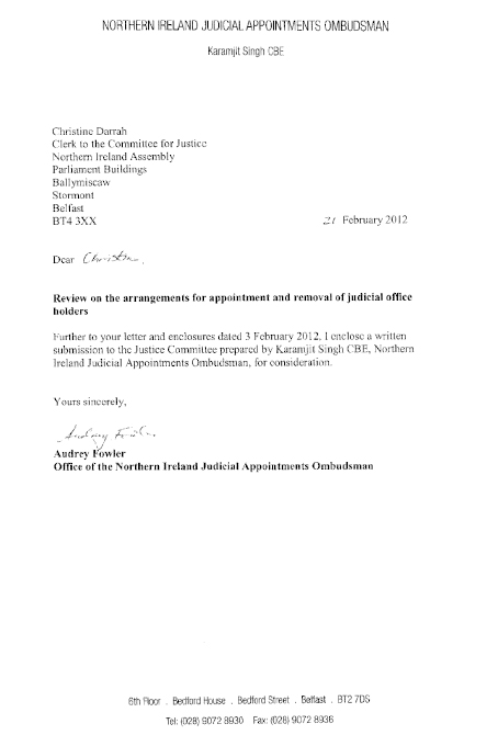 Northern Ireland Judicial Appointments Ombudsman submission