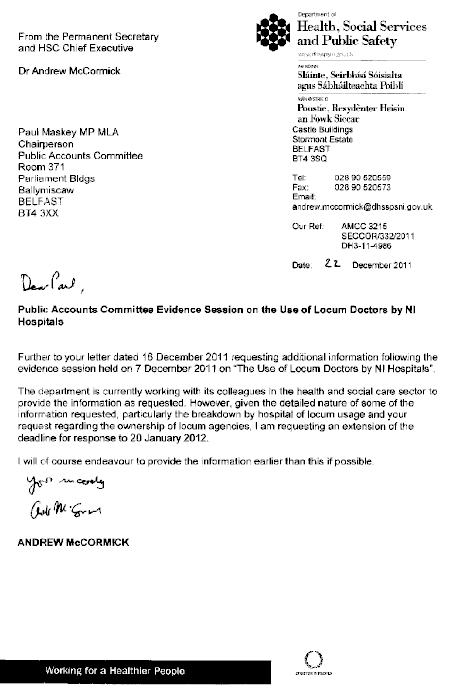 Correspondence of 22 December 2011  from Dr Andrew McCormick