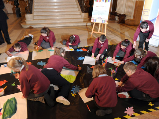 The Assembly today (Wed 11/01/12) launched an exciting new art competition aimed at Key Stage 2 pupils in primary schools across Northern Ireland. Pictured at the event launch are pupils from Currie Primary School, Belfast.