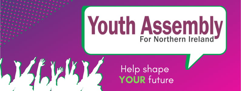 Decorative banner image that says: Youth Assembly for Northern Ireland - Help shape your future