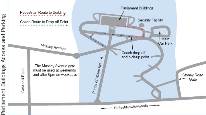 A picture of a map showing the various bus drop-off point and car parking options around Parliament Buildings